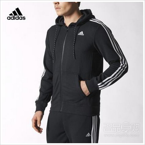 adidas阿迪达斯运动型格 男子 针织茄克 黑 s88109
