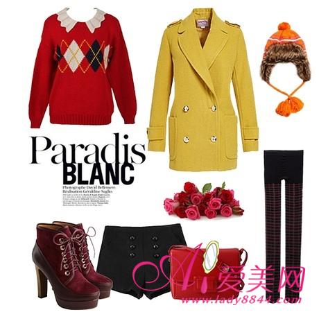 搭配TIPS:柠檬黄双排扣修身外套+红色 菱格纹毛衣+高腰呢子短裤-经