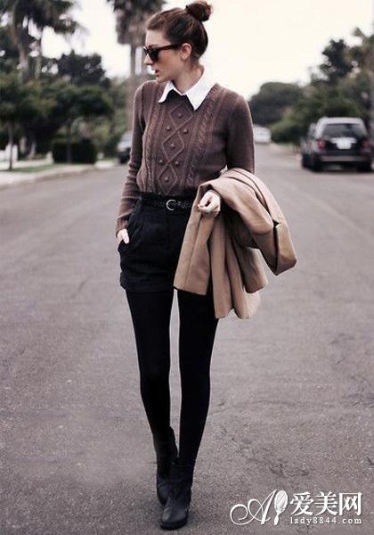欧美街拍 毛衣+短裤流行搭配十一-毛衣 短裤 欧美时尚潮人搭配术图片