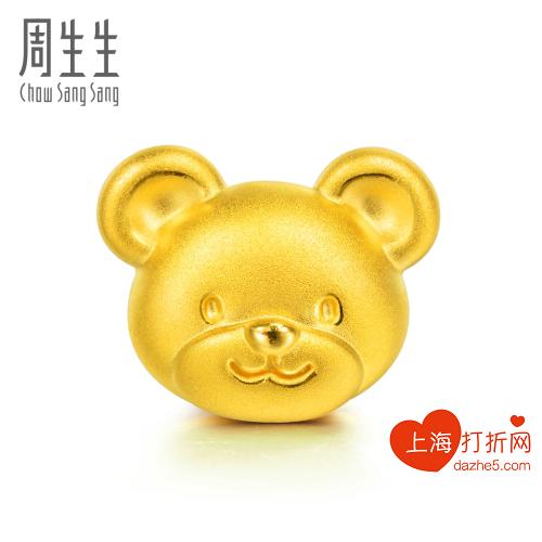 黄金(足金)charme串珠系列小熊转运珠¥