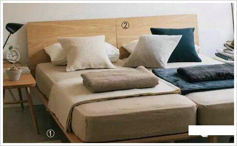 新定价 160元 ① 木制床框本体/单人×2 ② 木制床框用床头板/单人×
