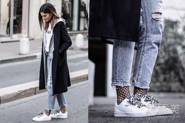 爱网袜与白球鞋牛仔裤的搭配,演绎出不同的时髦感.-球鞋的时髦新